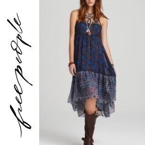 Free People Native Rose Dress High-Low Lace Blue
